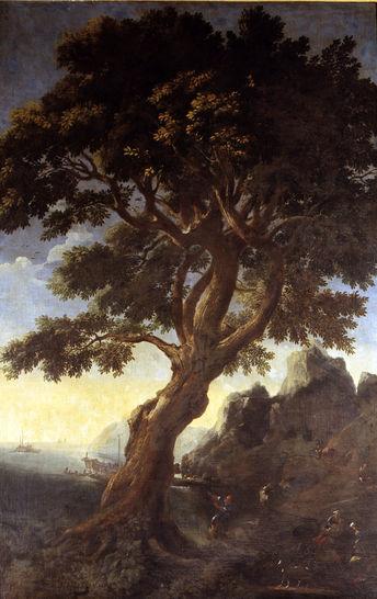 Paesaggio con grande albero attr gaspard dughet pittura for Grande planimetria della camera singola storia