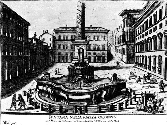 Fontana nella piazza colonna stampe e dipinti del for Diretta da montecitorio